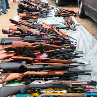 A police officers at the scene said he had never seen so many weapons.