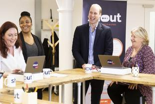 The Duke of Cambridge meeting, from left, Jo Irwin, Amanda Brown-Bennet and Carol Keith who are crisis volunteers working with Shout