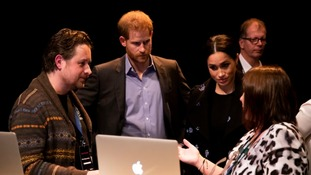 The Duke and Duchess of Sussex meet volunteers working with Shout.