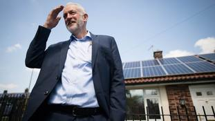 Labour leader Jeremy Corbyn during a visit to Salford.
