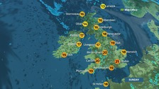 Mostly sunny as top temperatures reach 21 degrees