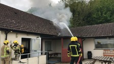 Firefighters tackling a blaze at Harnham Sports and Social Club