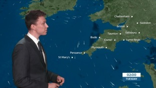 UK Weather forecast: Scattered showers in the South West