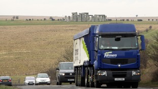 Cars on the A303 near Stonehenge.