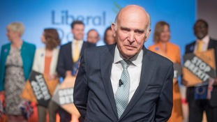 Sir Vince Cable during the launch of the Liberal Democrat campaign for European elections at the Dock Gallery in London.