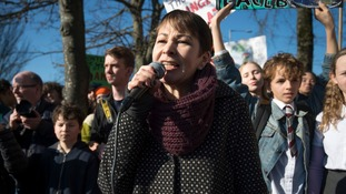 Green Party MP Caroline Lucas speaks to students during a recent climate change protest in Brighton.