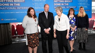 Conservative MEP candidates flanked Theresa May at a low-key Tory campaign event in Bristol.