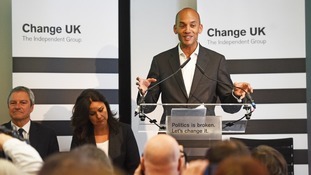 Chuka Umunna speaks during a Change UK rally at Church House in Westminster, London.