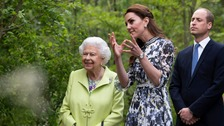 Queen visits Kate's '20 out of 10' Chelsea Flower Show garden