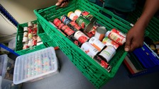 Foodbank stocking canned food