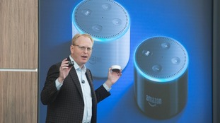 Dave Limp, Senior Vice President, Amazon Devices, introduces smart speakers during a product launch in London.