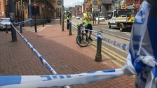 Picture of police tape where man was hit by tram