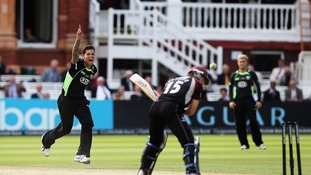 Surrey's Jade Dernbach celebrates a wicket in the 2011 final against Somerset.