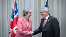 Theresa May with Jean-Claude Juncker during the EU-League of Arab States Summit in Sharm El-Sheikh, Egypt in February this year.
