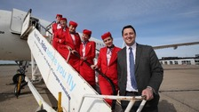Tees Valley Mayor Ben Houchen with The Balkan Holidays flight crew
