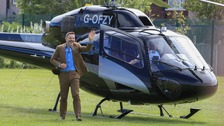 David Walliams arrives by helicopter at school of BGT'S singing children