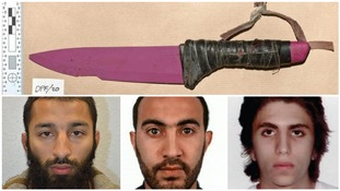 The pink knives used in the attack, and Khuram Butt, 27, Rachid Redouane, 30, and Youssef Zaghba, 22.
