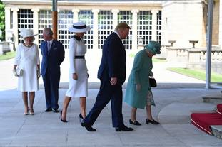 The group made their way to Buckingham Palace.