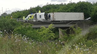 The overturned lorry on the Copdock Interchange.