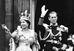 The Queen and the duke wave from Buckingham Palace on Coronation Day