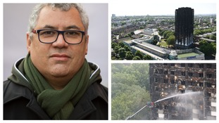 Nicholas Burton is one of the last survivors the Grenfell Tower fire. (R) Images of the damage caused.