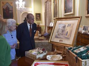 The Queen and Philip were presented with a watercolour of Villa Guardamangia during a 2015 trip to Malta