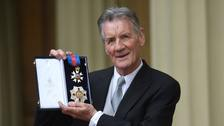 Sir Michael Palin after he was made a knight by the Duke of Cambridge.