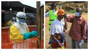 An Ebola health worker at a treatment center in the DRC, and people crossing the border are checked for symptoms of Ebola.