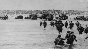 American troops land in France on D-Day.