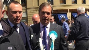 Nigel Farage had a milkshake thrown at him while out campaigning in Newcastle.