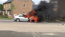 Firefighters tackle burning car in Carlisle