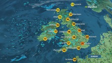 Showers scattered across the UK on Sunday.