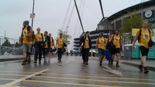 Group of walkers outside Etihad Stadum