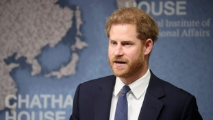 The Duke of Sussex makes a speech during a Chatham House Africa Programme event on mine clearing in Angola