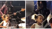 Young drummer jams with rockstar Lenny Kravitz
