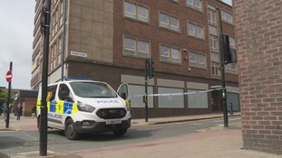 Police cordon in place at the scene in Huddersfield town centre