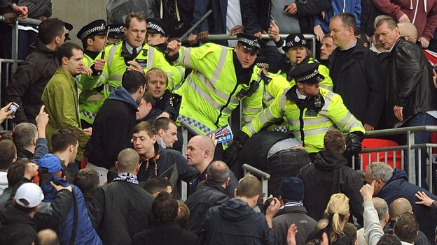 millwall fans fight police and each other at wembley itv news