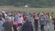 Rare access to Farnborough airport as runway opens to runners