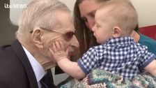 98-year-old war veteran Ernie meets his grandson for the very first time