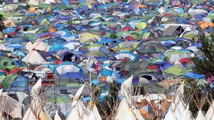 Fans make camp on the Glastonbury Festival site on Worthy Farm, Somerset