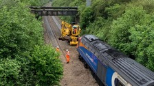 The train following the landslip.