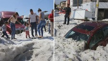 People in Guadalajara were shocked by the amount of ice left behind.