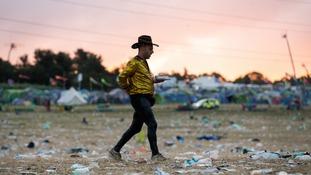 The clean-up begins after Glastonbury Festival 2019.