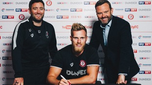 Tomas Kalas with Bristol City coach Lee Johnson (left) and chief executive Mark Ashton.