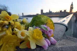 Flowers and candle lights on Westminster Bridge