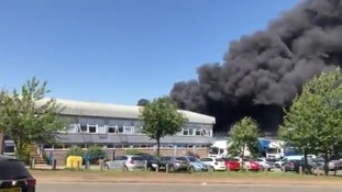 The fire at the Finedon Road Industrial Estate.