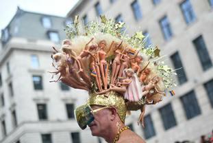 This headdress made up of Barbie dolls was spotted along the Pride route.