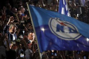 Kyriakos Mitsotakis celebrates with supporters