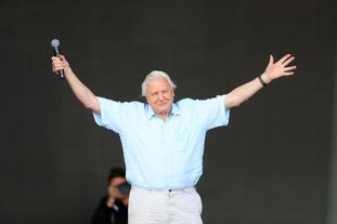 Sir David Attenborough made a surprise appearance at the Glastonbury Festival