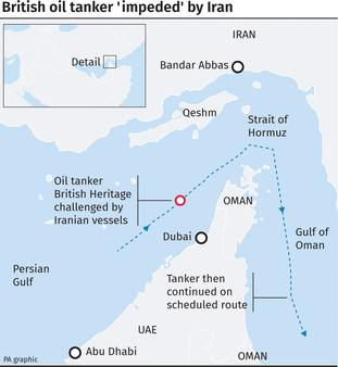 An Iranian vessel attempted to impede the progress of a British tanker through the Strait of Hormuz.